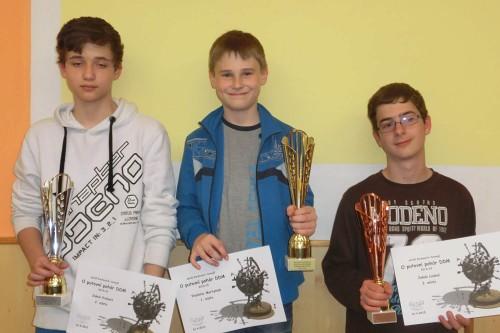 Trojice nejlepších. Zleva: Jakub Probošt, Vladislav Martyniuk, Jakub Loubal. (zdroj: DDM Boskovice)